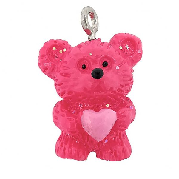 Acrylic Hot Pink Bear with Heart Charm 15x 18mm